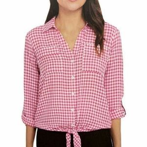 NWT Jones New York pink Gingham plaid shirt blouse